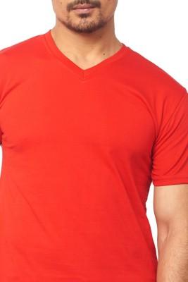 Thor Solid Men's V-neck Red T-Shirt