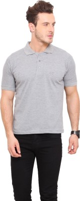 Mode Vetements Solid Men's Polo Neck Grey T-Shirt