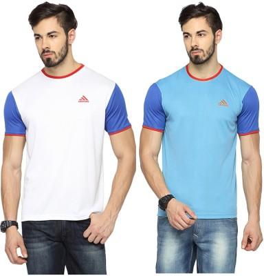Canyons Solid Men's Round Neck White, Light Blue T-Shirt