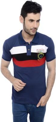 Triplegrass Embroidered Men's Flap Collar Neck T-Shirt