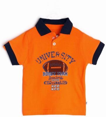 Mee Mee Graphic Print Boy's Polo Neck Orange T-Shirt