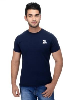 Surly Solid Men's Round Neck Blue T-Shirt