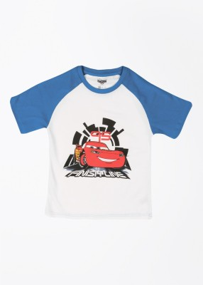 Cherish Printed Boy,s Round Neck White, Blue T-Shirt