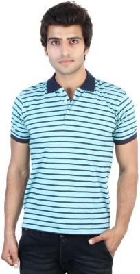 Shra Striped Men's Polo Neck Green, Blue T-Shirt