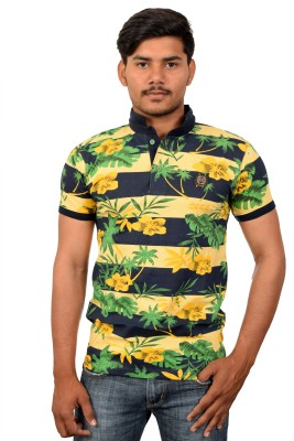 YOUTH & STYLE Floral Print Men's Polo Neck Black, Yellow T-Shirt