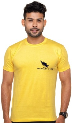 American Cult Solid Men's Round Neck Yellow T-Shirt