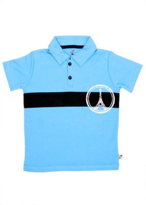 PRANAVA Solid Baby Boy's Polo Neck Blue T-Shirt