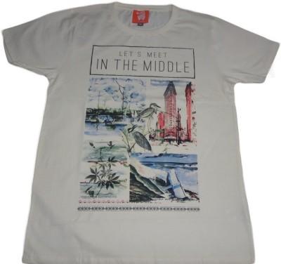 Rayon Printed Men's Round Neck Beige T-Shirt