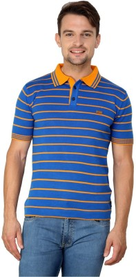Zeco Woven Men's Polo Neck Blue T-Shirt