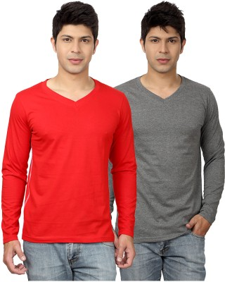 Top Notch Solid Men's V-neck Red, Grey T-Shirt