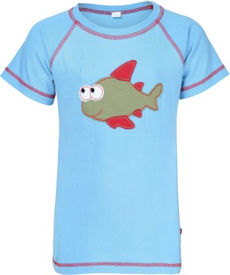 Nino Bambino Printed Boy's Round Neck Blue T-Shirt