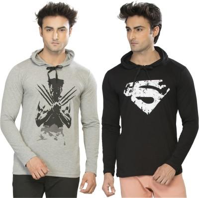 Alan Jones Printed Men's Hooded Black, Grey T-Shirt