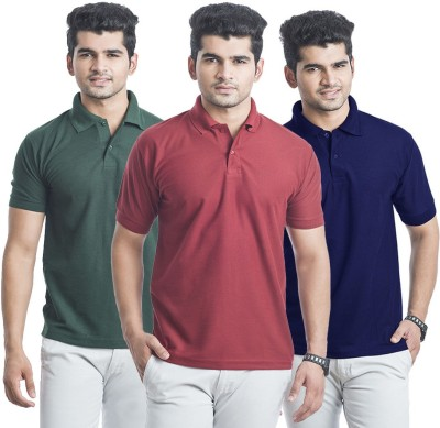 Bainsons Solid Men,s Polo Blue, Green, Maroon T-Shirt