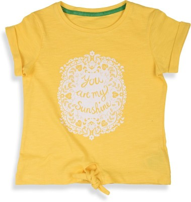 Mothercare T- shirt For Girls(Yellow)