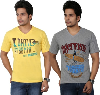 Eco Trend Printed Men's V-neck Yellow, Grey T-Shirt