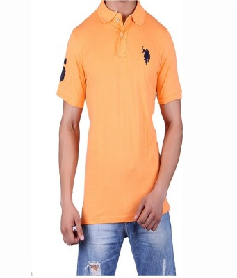 ganesh creation Solid Men's Polo Neck Beige T-Shirt