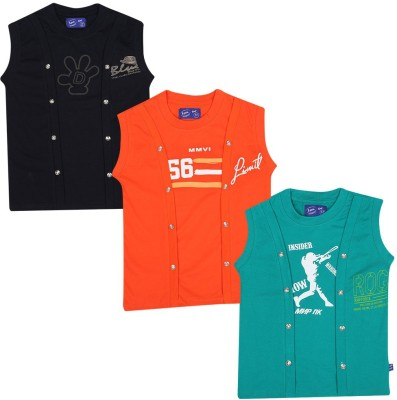 SPN Garments Printed Girl,s Round Neck Black, Orange, Green T-Shirt