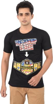 Attitudecrazyzone Printed Men,s Round Neck Black T-Shirt