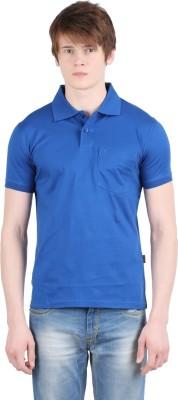 Moonwalker Solid Men's Polo Neck Blue T-Shirt