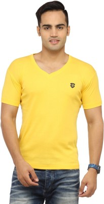 Byrock Solid Men's V-neck Yellow T-Shirt