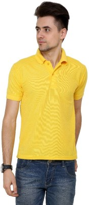 Grand Bear Solid Men's Polo Neck Yellow T-Shirt