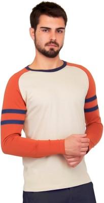 Cult Fiction Solid Men's Round Neck Beige T-Shirt