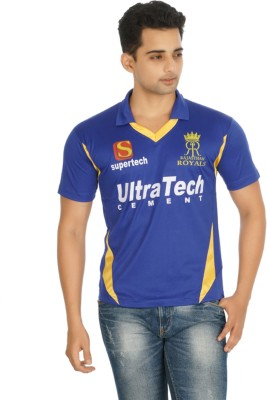 Attitude Printed Men's Polo Neck Blue T-Shirt
