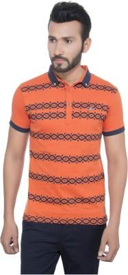 GreyBooze Printed Men's Polo Orange, Black T-Shirt