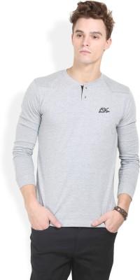 HW Solid Men,s Henley Grey T-Shirt