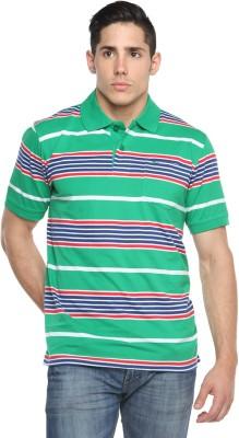 Tempt Striped Men's Polo Neck Blue T-Shirt