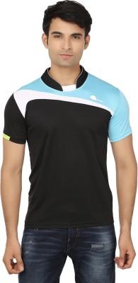 Keewi Solid Men's Fashion Neck Black, Blue T-Shirt