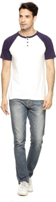 Being Crazy Solid Men,s Henley White T-Shirt