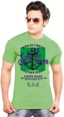 balaji Printed Men's Round Neck Green T-Shirt