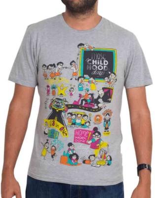Chumbak Printed Men's Round Neck Grey T-Shirt