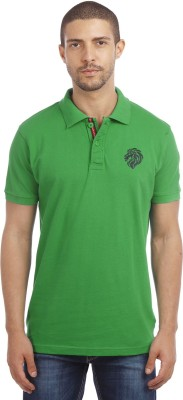 Leo Solid Men's Polo Neck Green T-Shirt