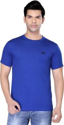 Always & Forever Solid Men's Round Neck Blue T-Shirt