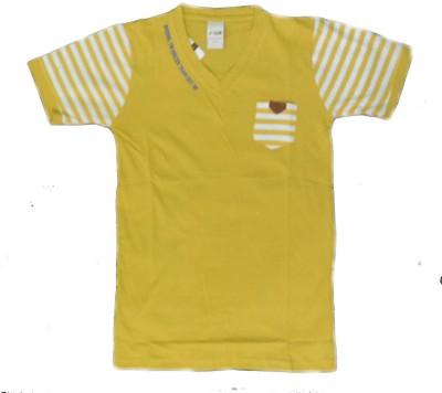 V-Club Solid Men's V-neck Yellow T-Shirt