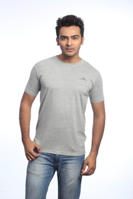 Cross Creek Solid Men's Round Neck Grey T-Shirt