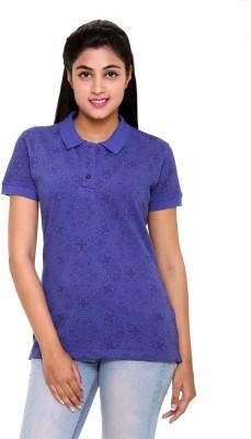 Colors & Blends Printed Women's Polo Neck Purple T-Shirt