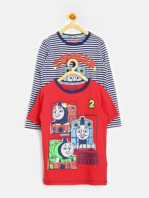 Marks & Spencer Printed, Striped Boy's Round Neck T-Shirt