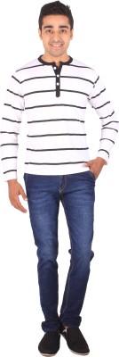 DG Striped Men's Henley White T-Shirt