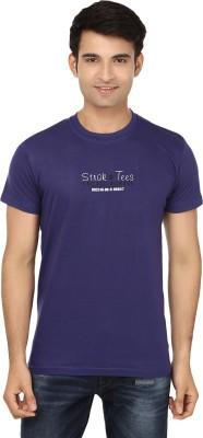 Strak Solid Men's Round Neck Dark Blue T-Shirt