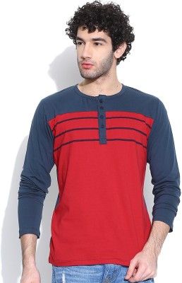 Cult Fiction Solid Men's Henley Red T-Shirt