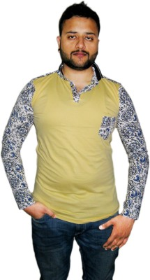 Modish Vogue Floral Print Men's V-neck Yellow T-Shirt