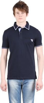 Moonwalker Solid Men's Polo Neck Dark Blue T-Shirt
