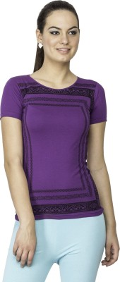 Le Bison Printed Women's Round Neck Purple T-Shirt