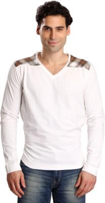 Bombay High Solid Men,s V-neck White T-Shirt