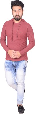 Zrestha Solid Men's Hooded Maroon T-Shirt