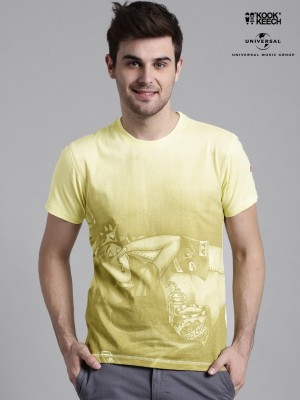 Kook N Keech Archie Printed Men's Round Neck Yellow T-Shirt