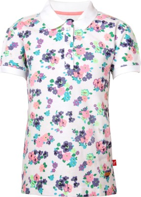 VITAMINS Printed Girl's Polo Neck White T-Shirt